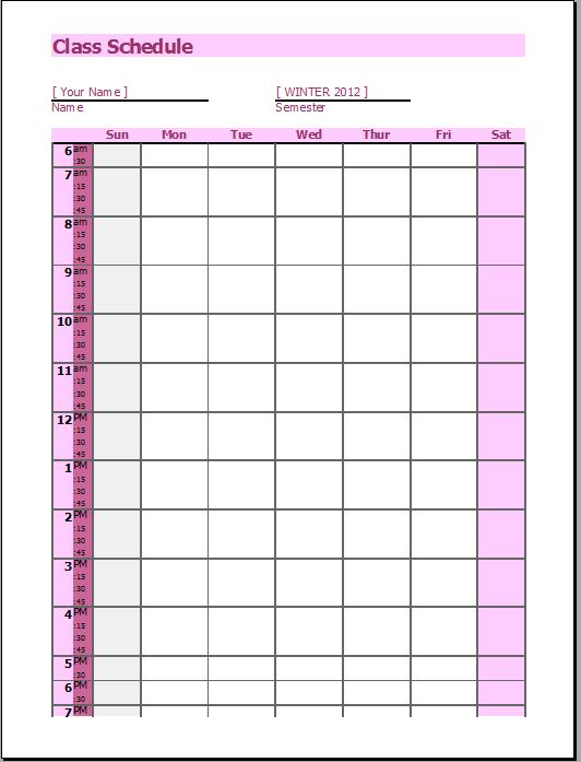 Class Schedule OpenOffice