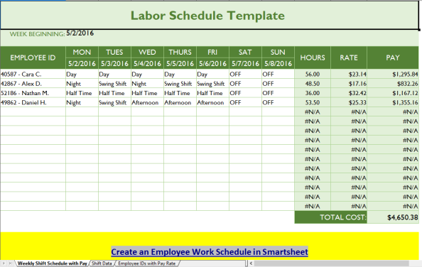 Labor Schedule Template