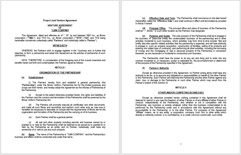 Partnership Agreement Templates 7 Free Samples In Ms Word Format
