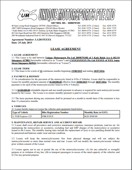 Car Lease Agreement Template 01