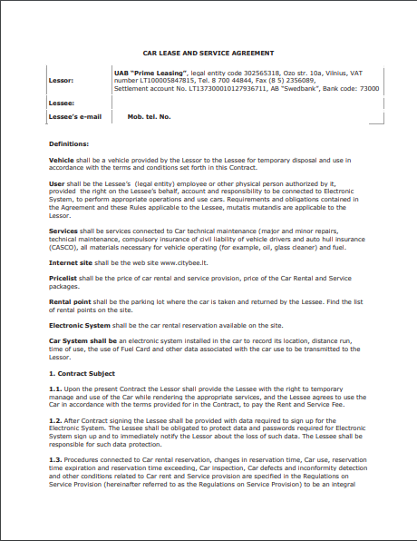 Car Lease Agreement Template 04